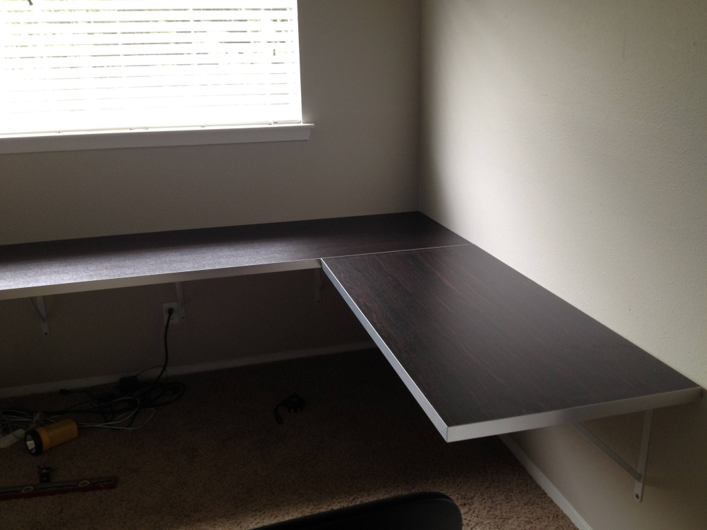 wall mounted desk build photo - 2