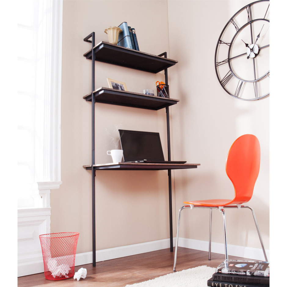 wall mounted desk with shelves photo - 2