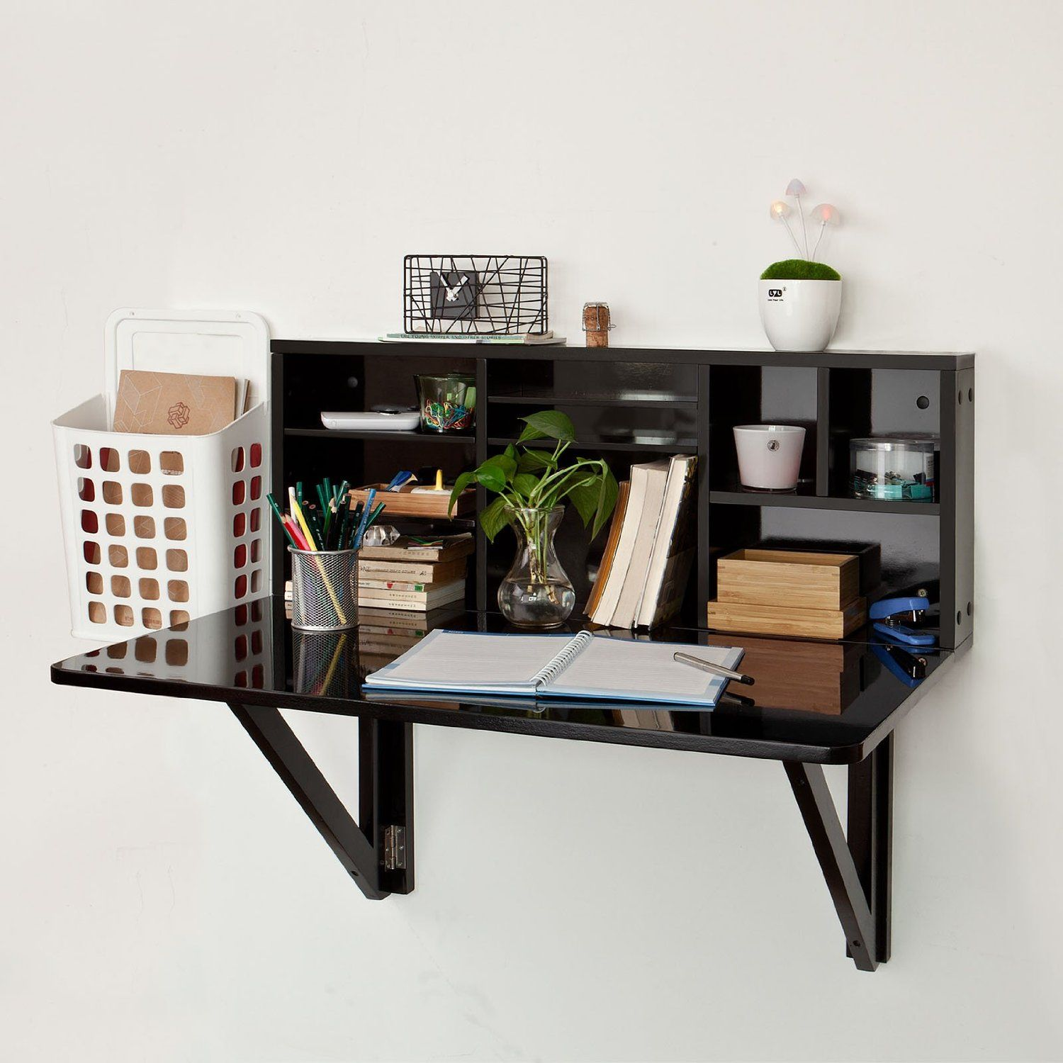 wall mounted desk with shelves photo - 4