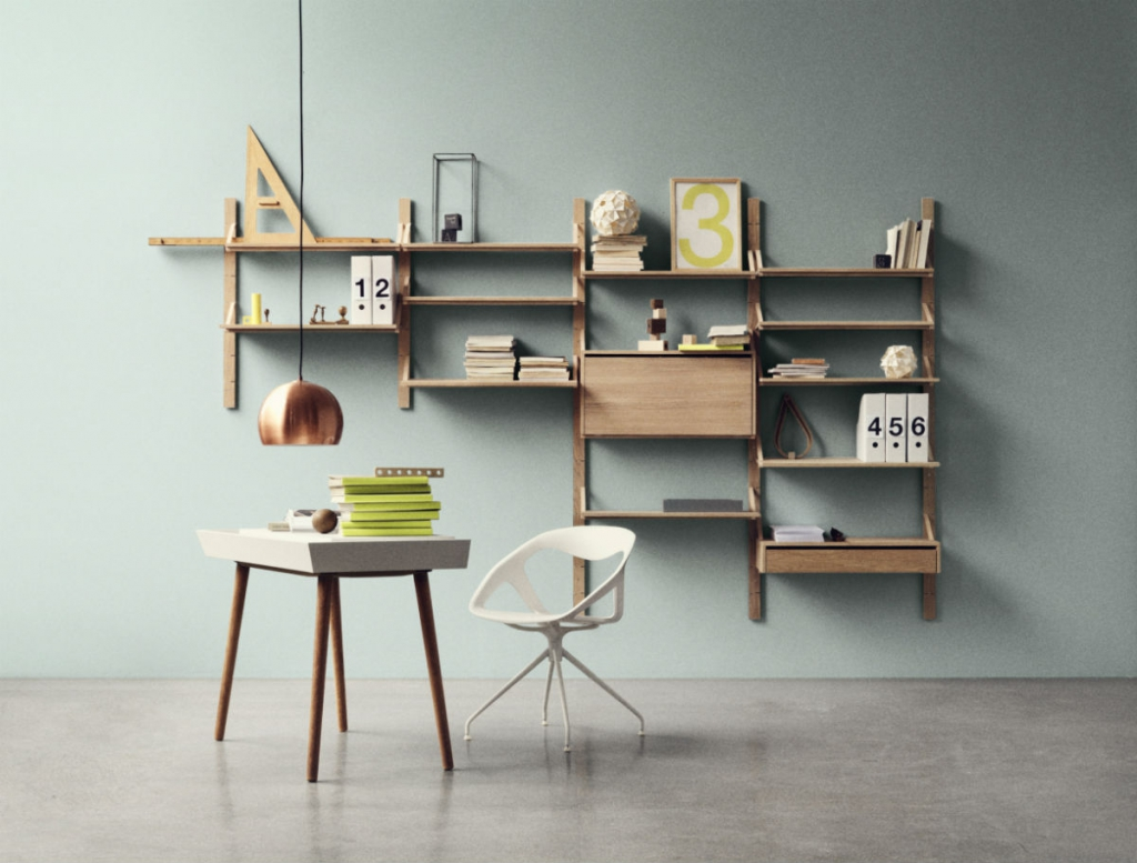 wall mounted desk with shelves photo - 5