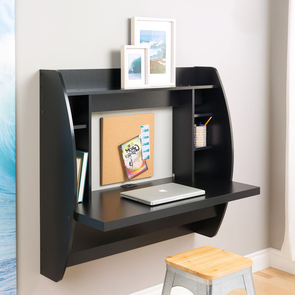 wall mounted desk with shelves photo - 6