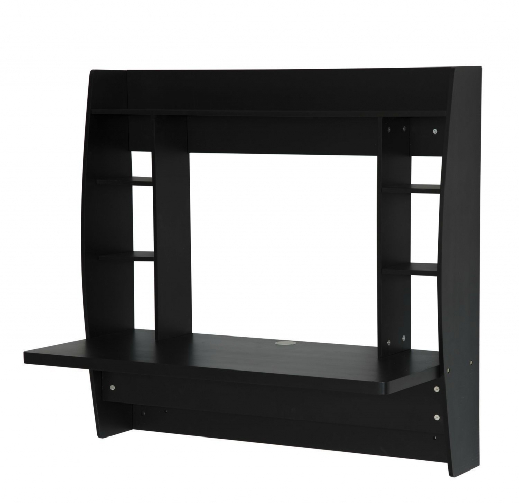 wall mounted desk with shelves photo - 8