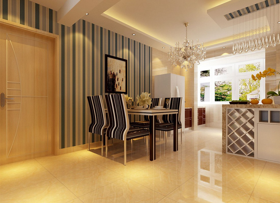 wallpaper for dining room modern photo - 8