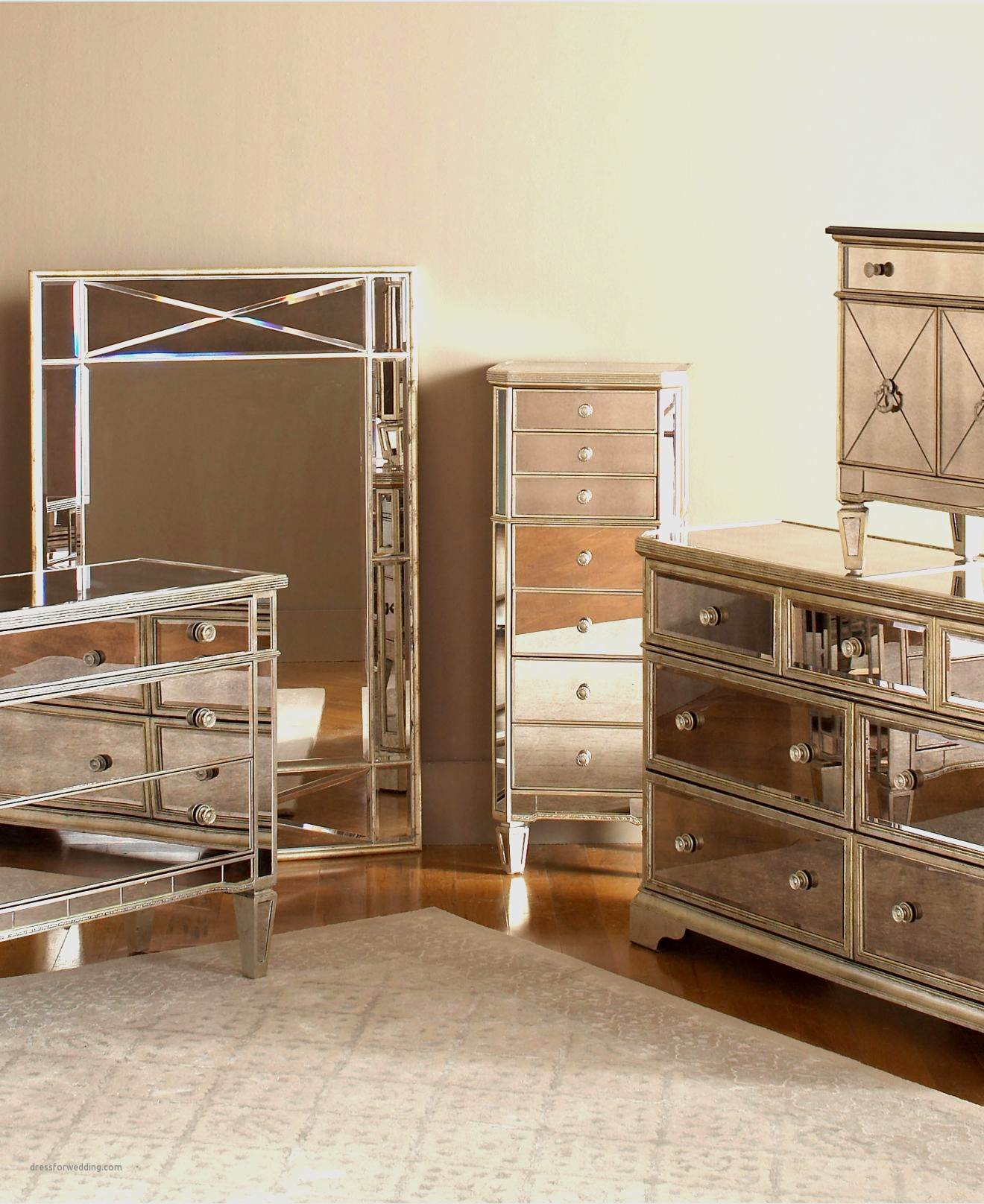 wood and mirrored bedroom furniture photo - 7