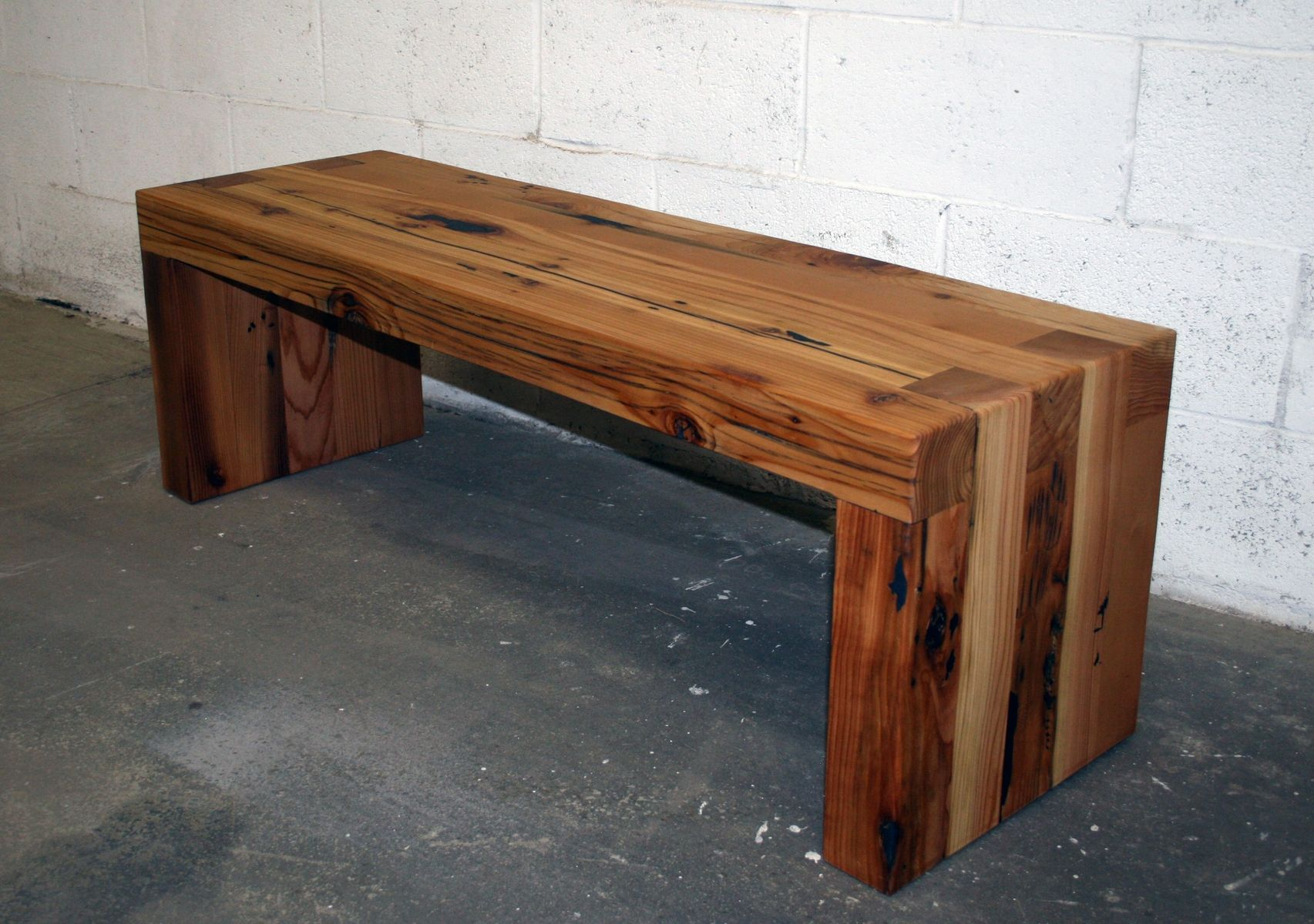 wood coffee table bench photo - 10