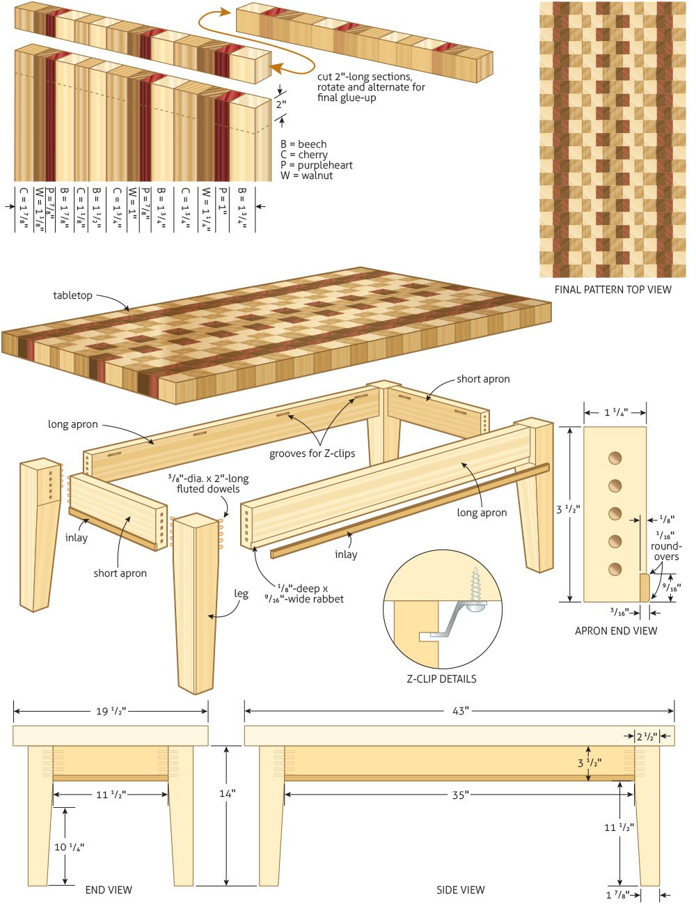 wood coffee table blueprints photo - 3