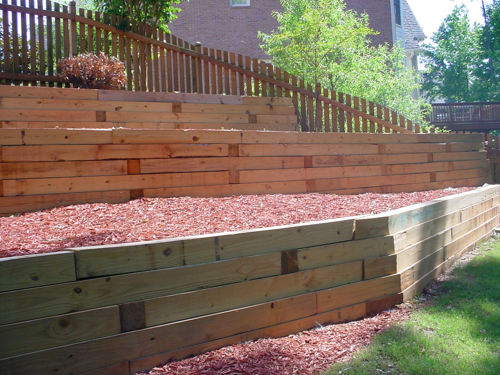 wood retaining wall design example photo - 1
