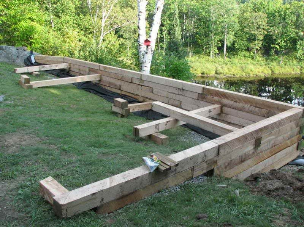 wood retaining wall design example photo - 4