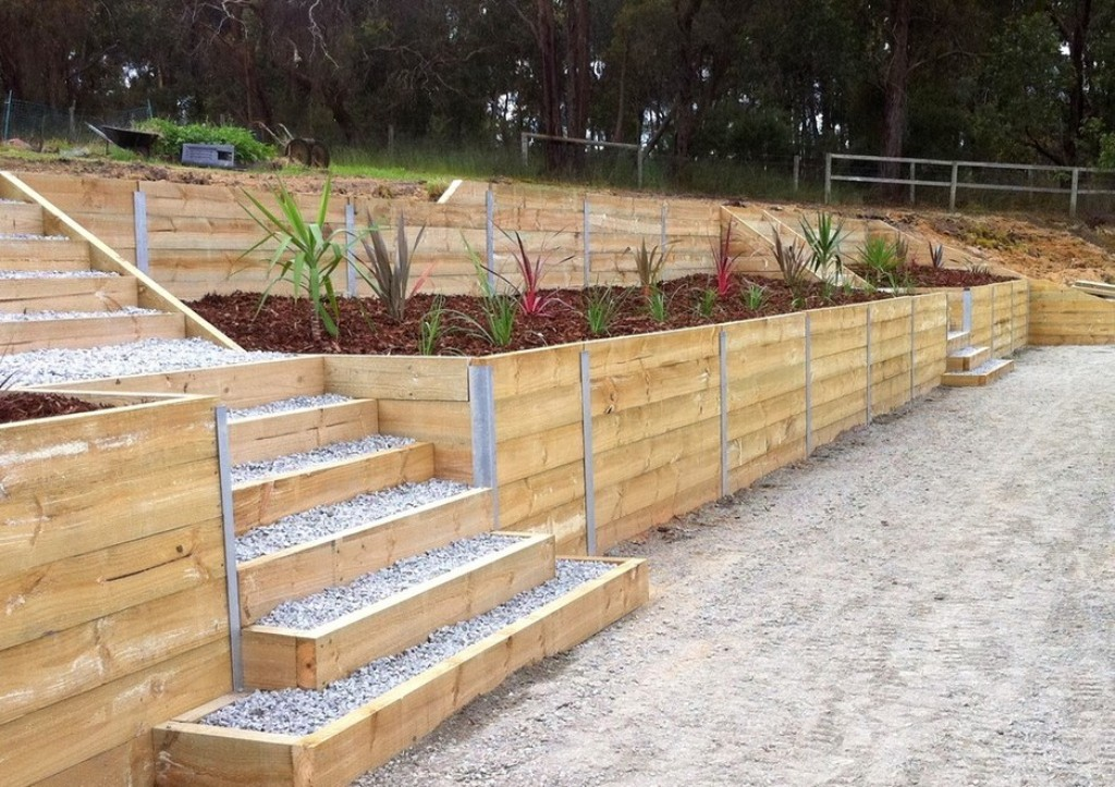 wood retaining wall design example photo - 7