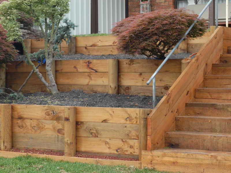wood retaining wall design example photo - 8
