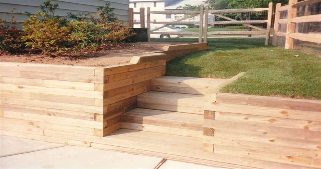 wood retaining wall design example photo - 9
