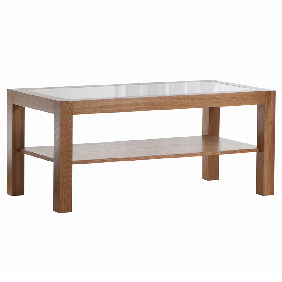 wooden coffee table glass top photo - 1