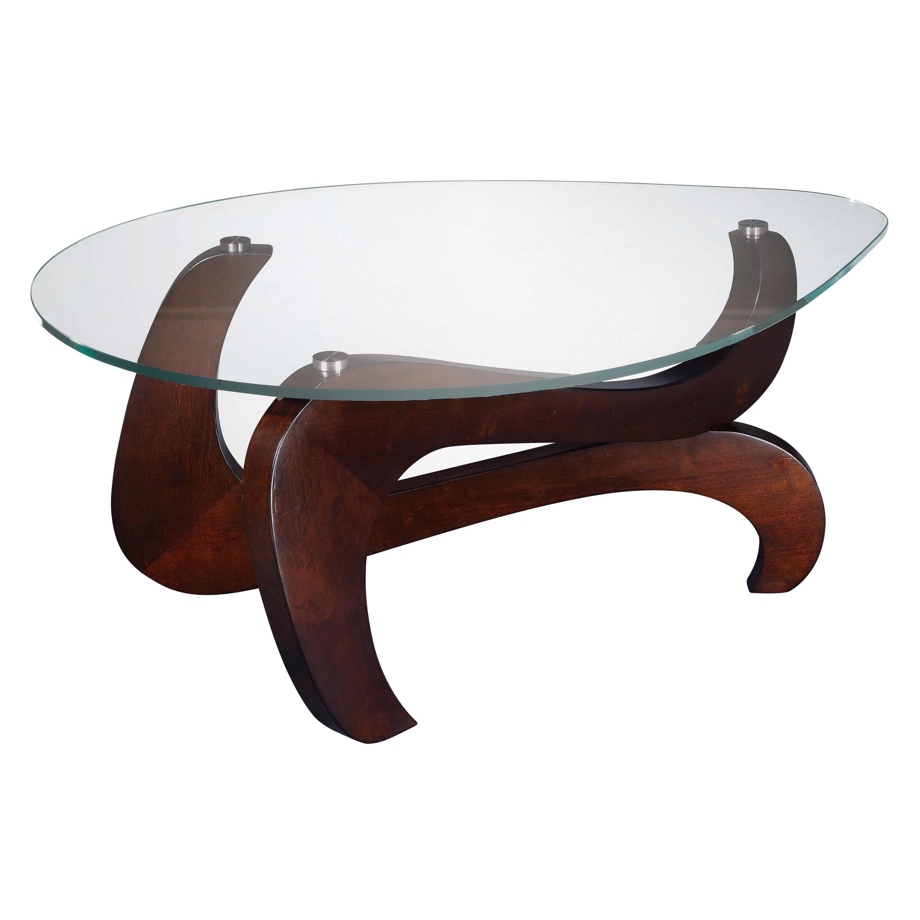 wooden coffee table glass top photo - 10