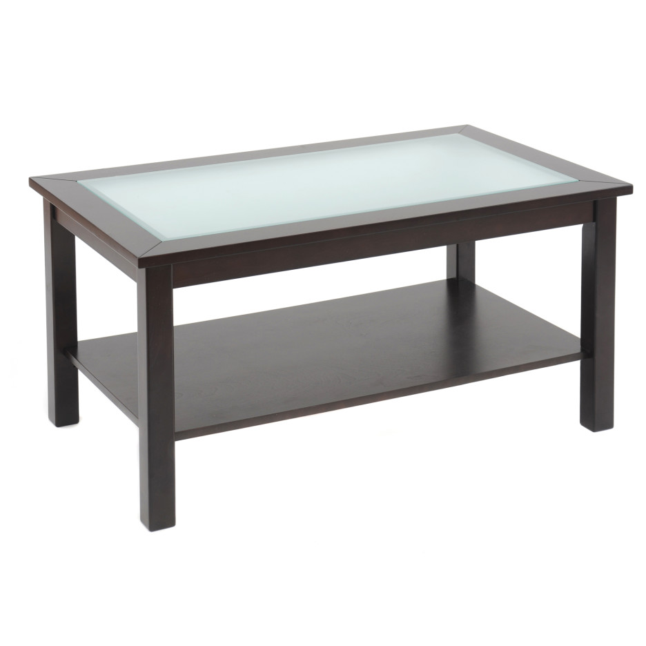 wooden coffee table glass top photo - 3