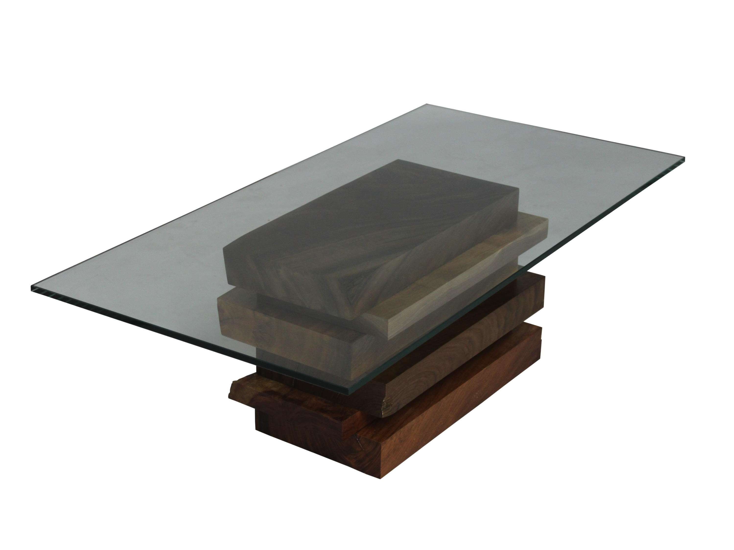 wooden coffee table glass top photo - 4