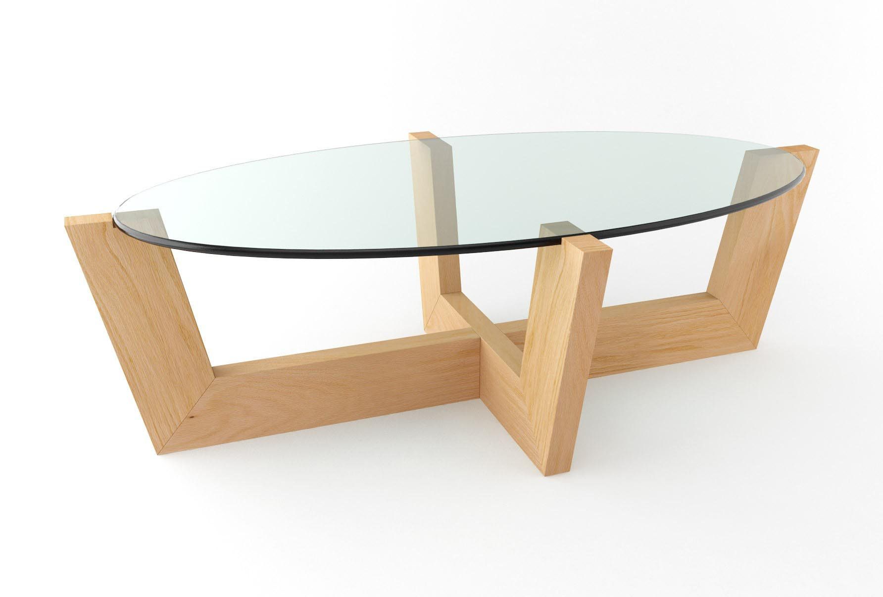 wooden coffee table glass top photo - 5