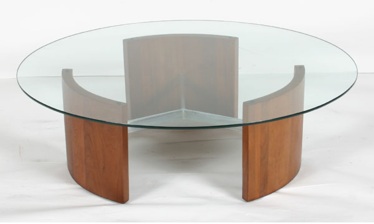 wooden coffee table glass top photo - 6