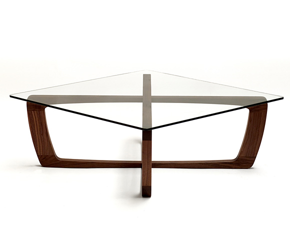 wooden coffee table glass top photo - 9