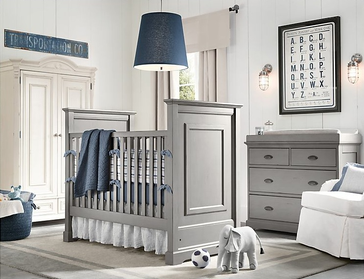 Baby boy room with white furniture