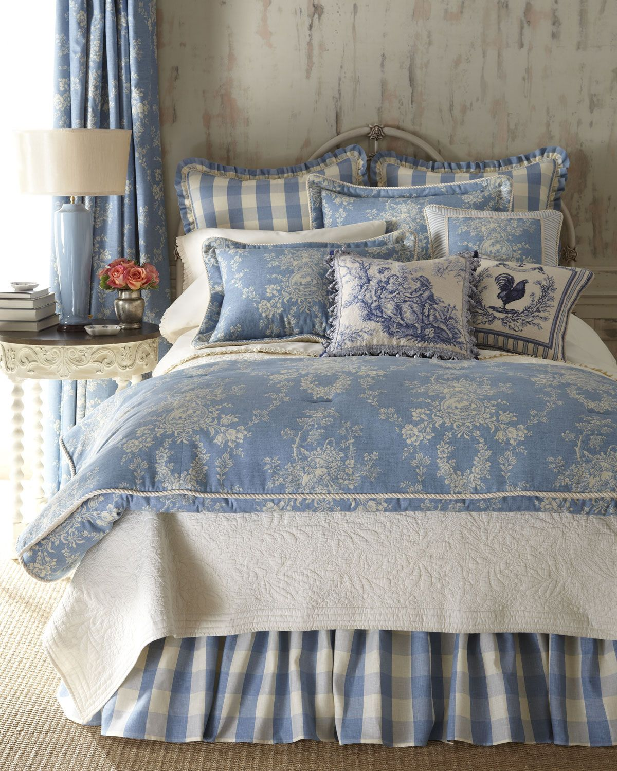 Blue and white french country bedroom