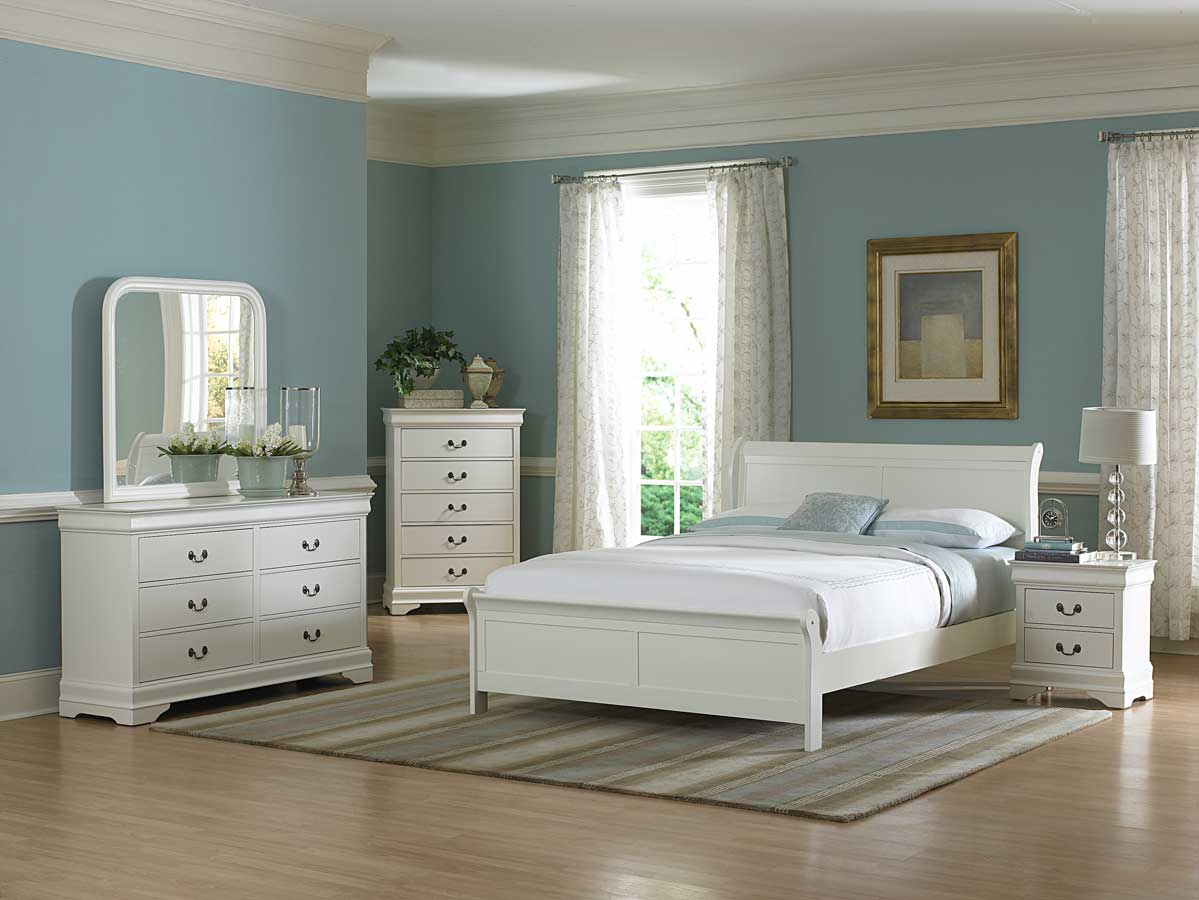 Blue room with white furniture