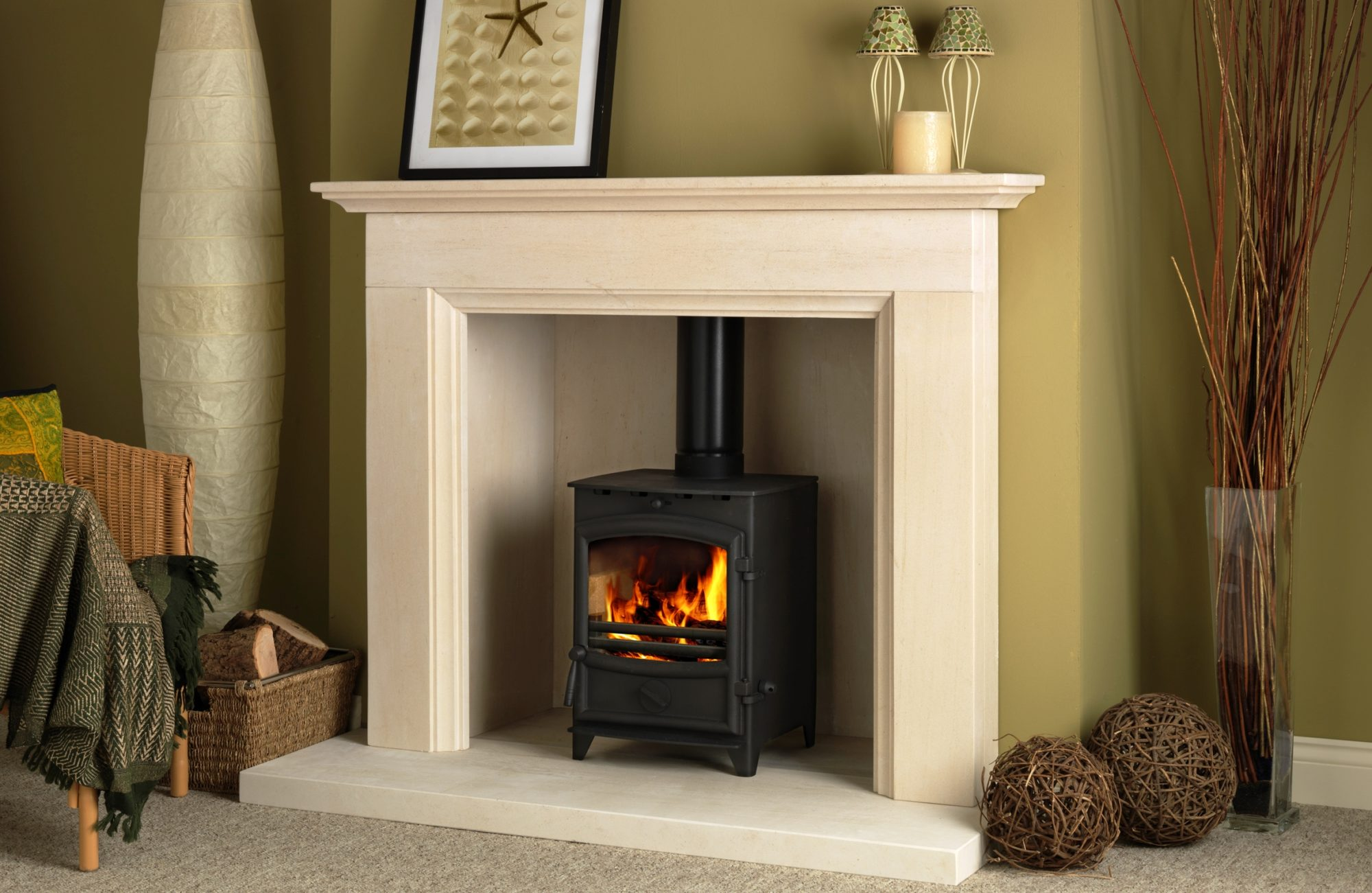 Marble fire surrounds for wood burners