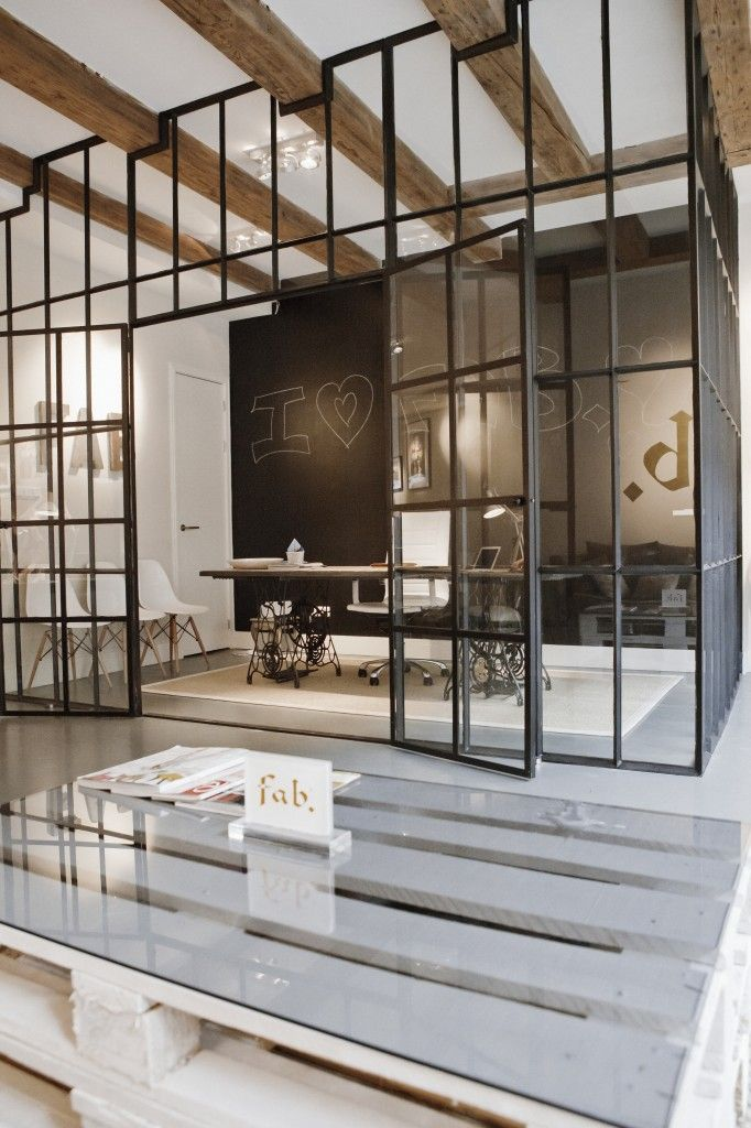 Office space with glass walls