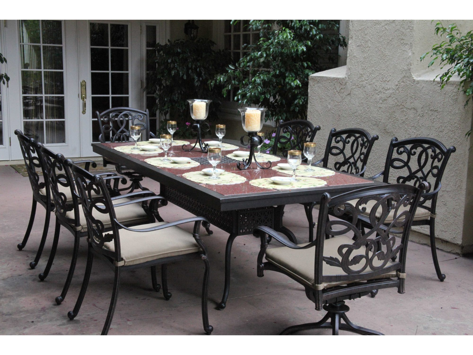 Outdoor dining table granite