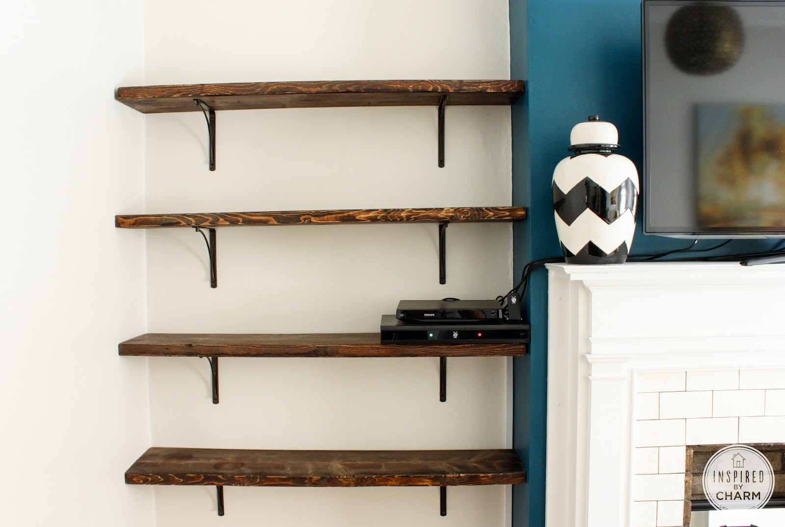 Wall mounted shelves for books