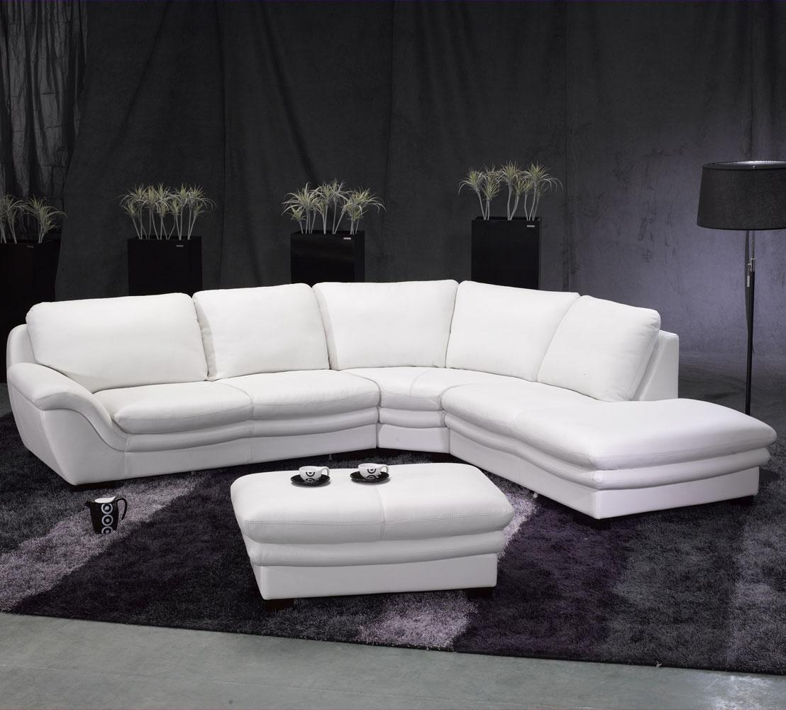 White modern sectional leather sofa