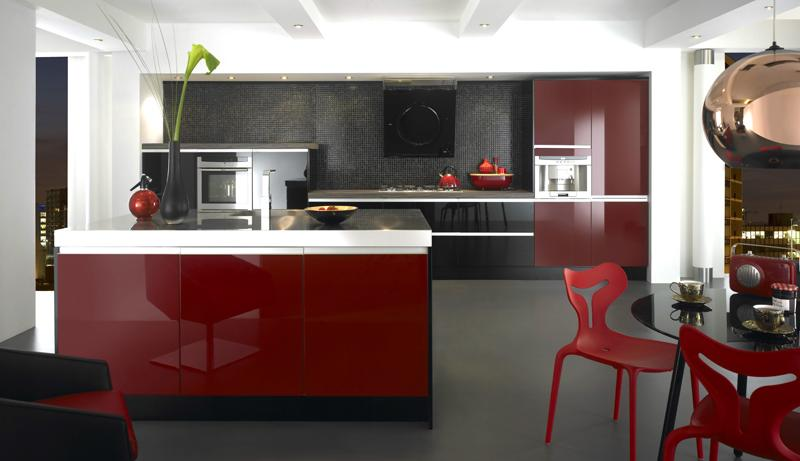 Black And Red Modern Kitchen Brooklyn Apartment