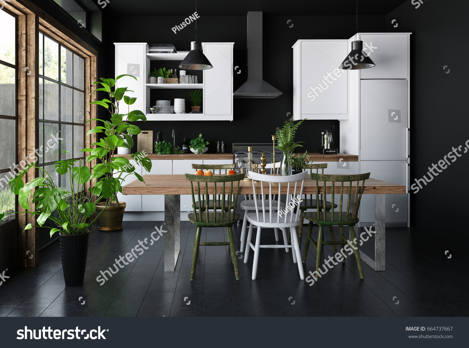 Kitchen with Sunlight Interior Concept photo - 3