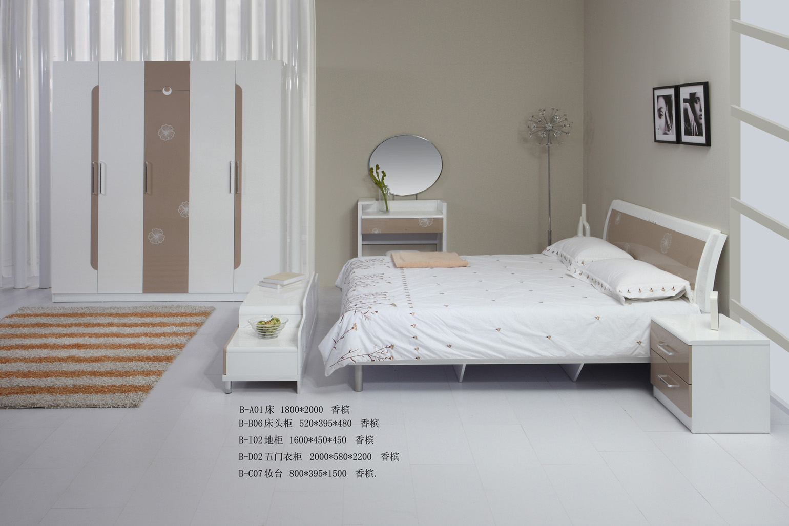 bedroom with white furniture decorating ideas photo - 9