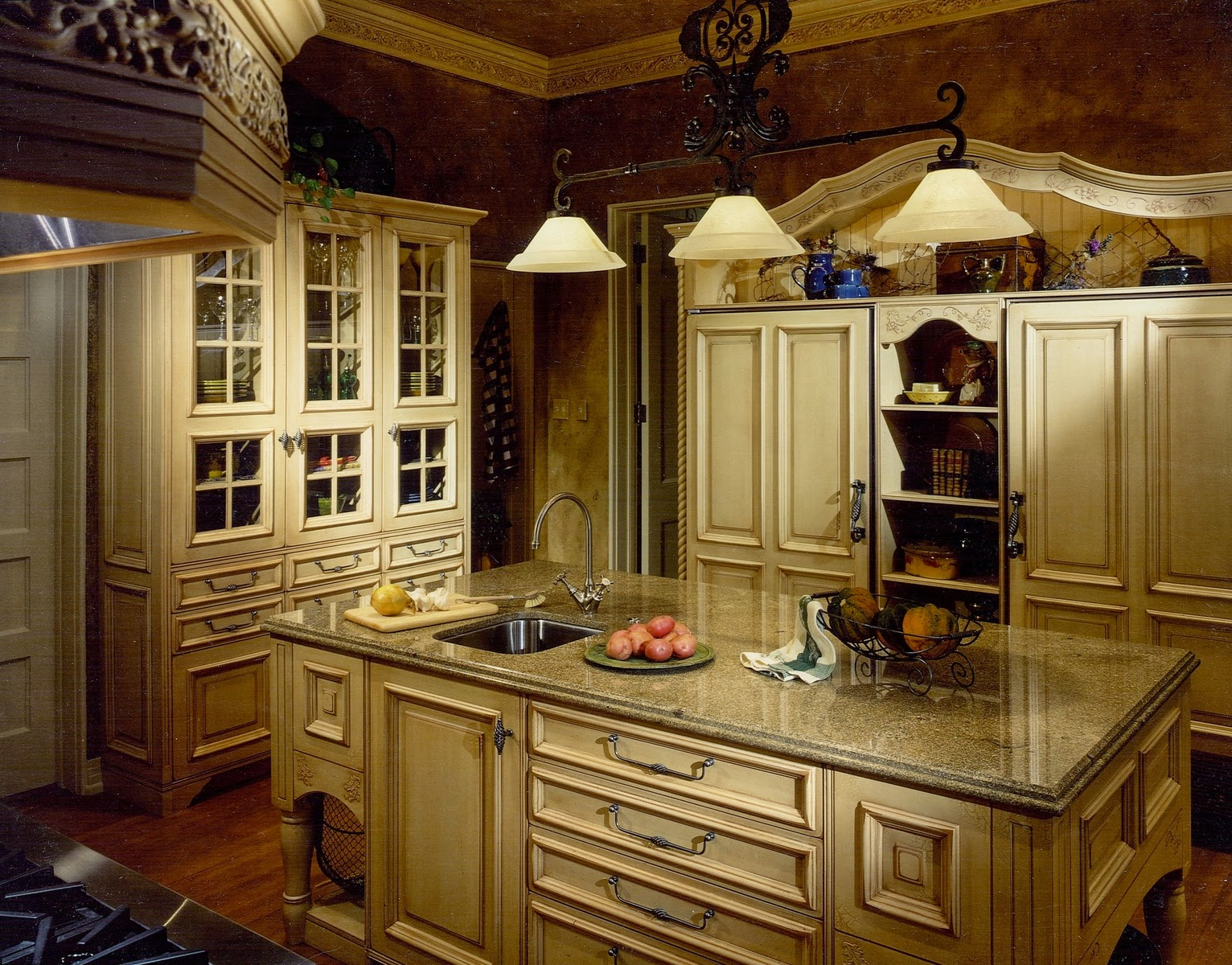french country kitchen cabinets photo - 7