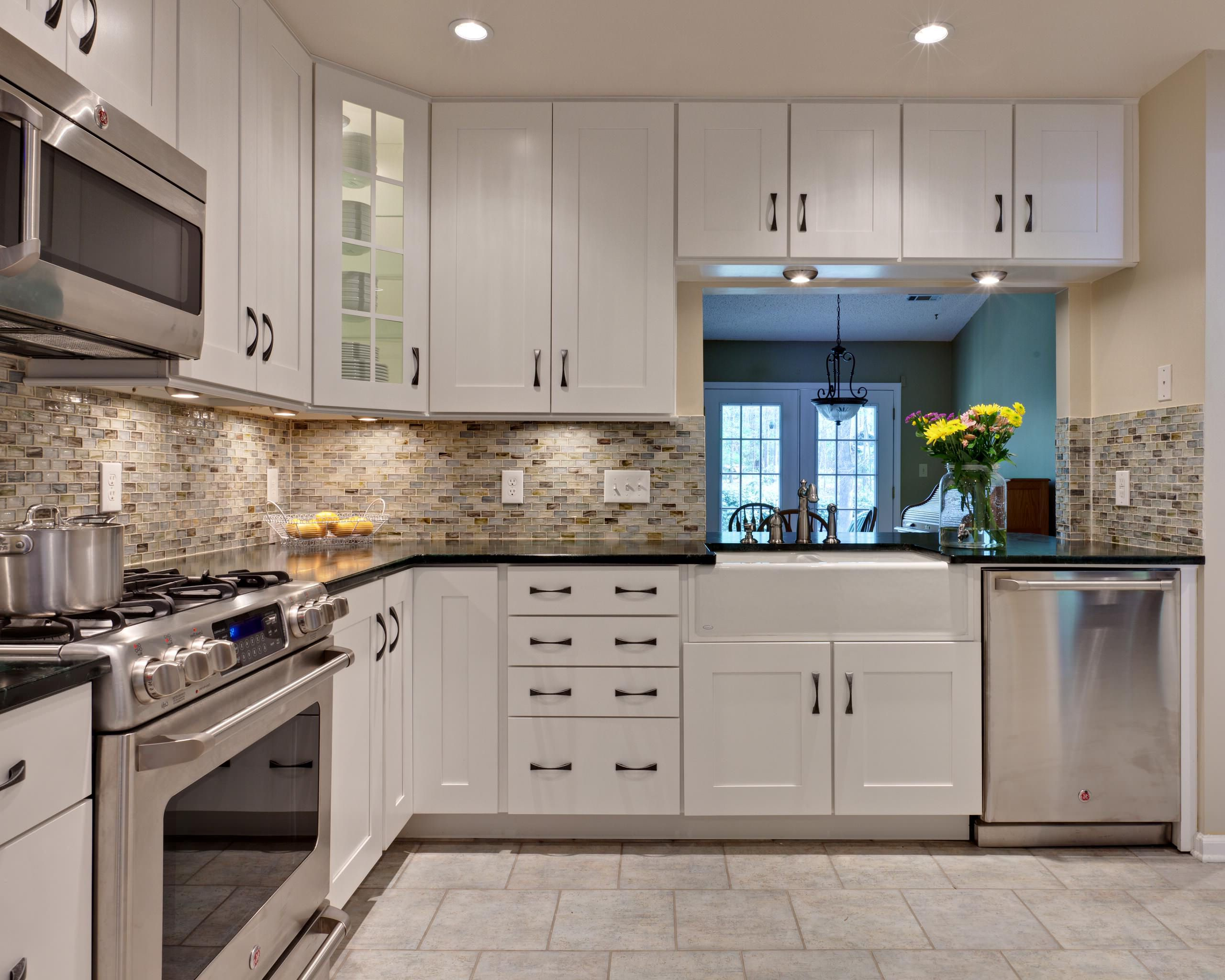 Kitchen White Cabinets Dark Backsplash