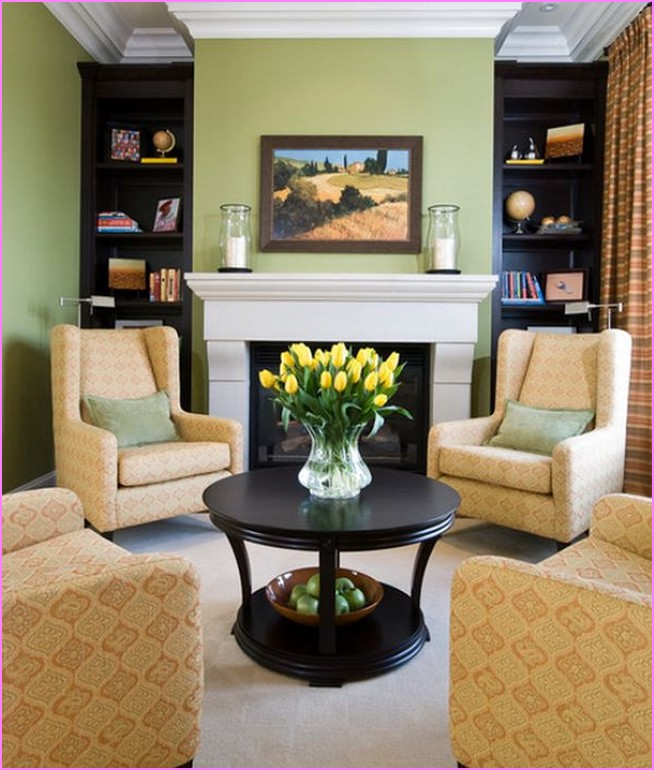 living room furniture ideas+fireplace photo - 1