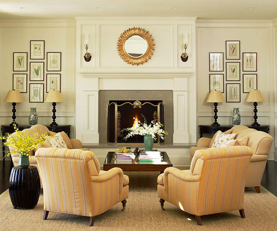 living room furniture ideas+fireplace photo - 7