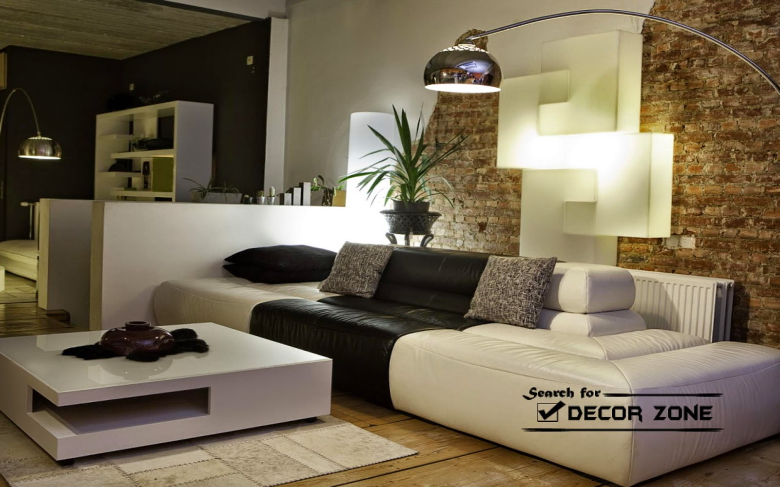 living room with white furniture photo - 1