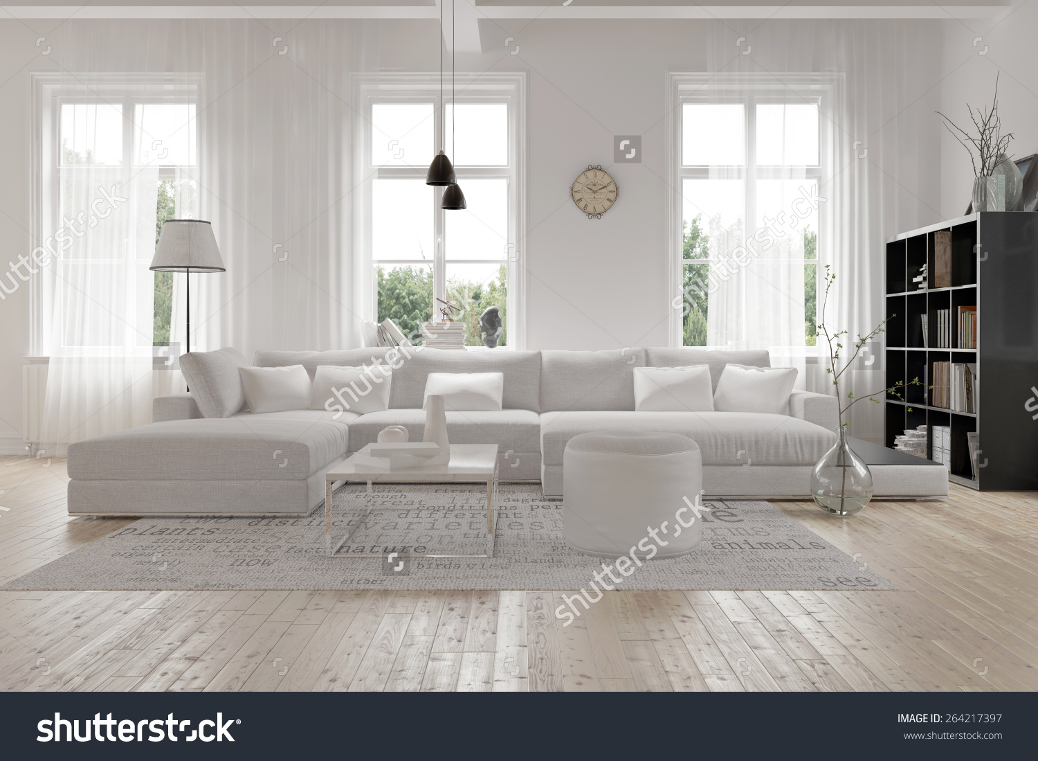living room with white furniture photo - 10