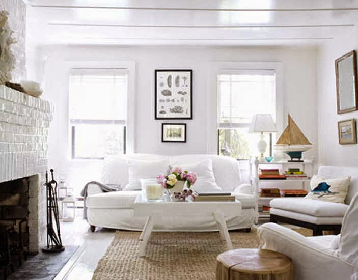 living room with white furniture photo - 2
