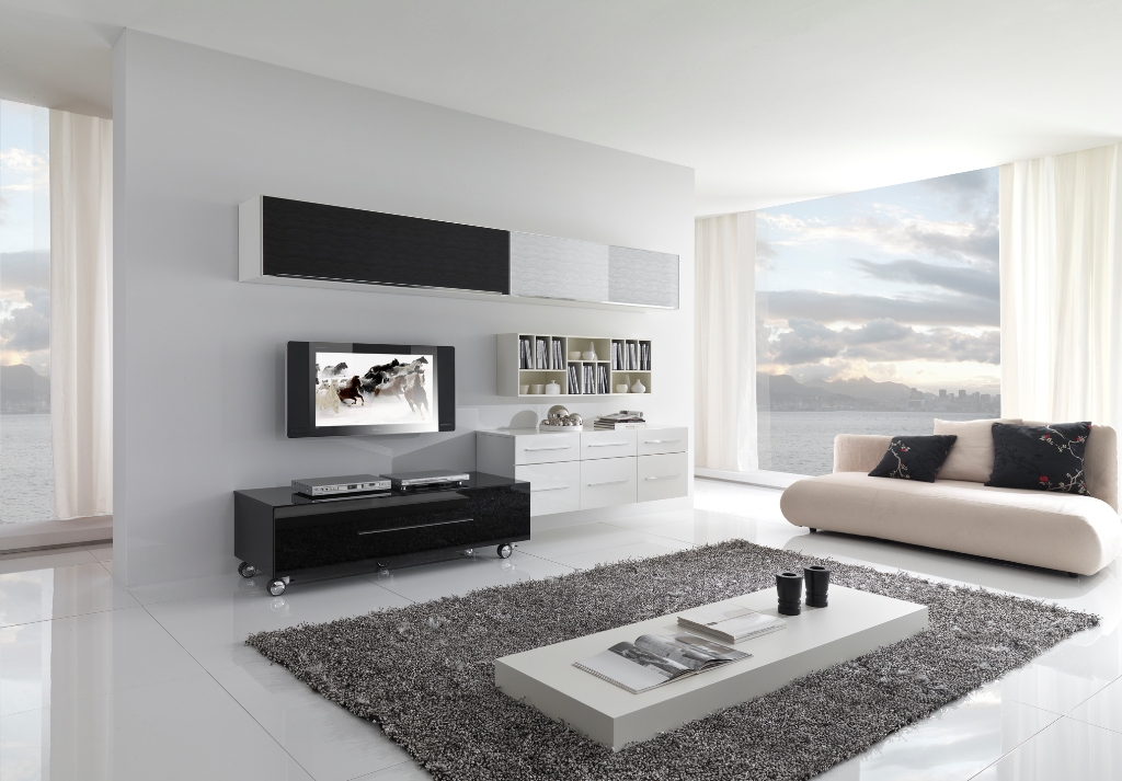 living room with white furniture photo - 4