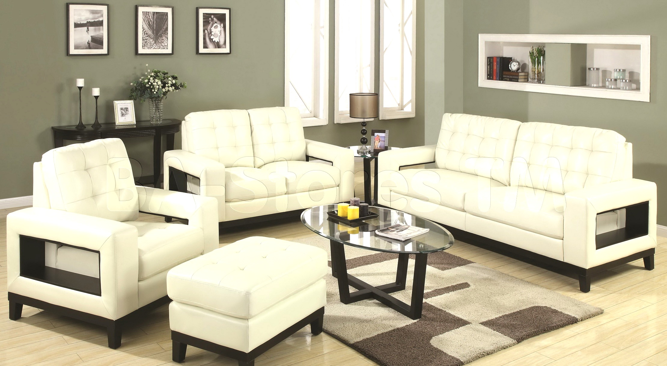 living room with white furniture photo - 5