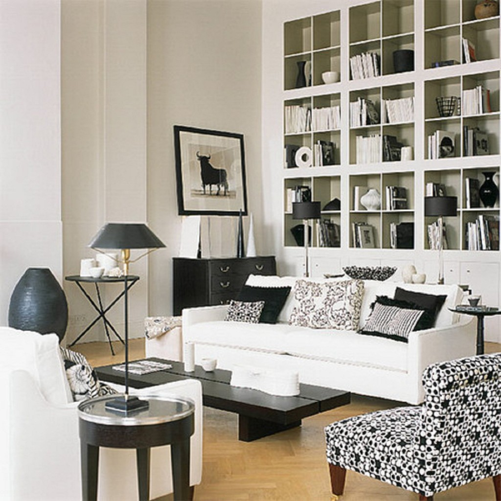living room with white furniture photo - 7