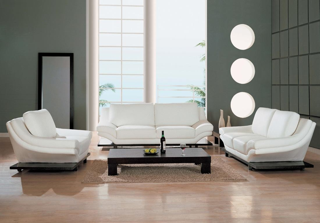 living room with white furniture photo - 8