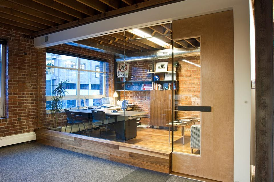 office space with glass walls photo - 7