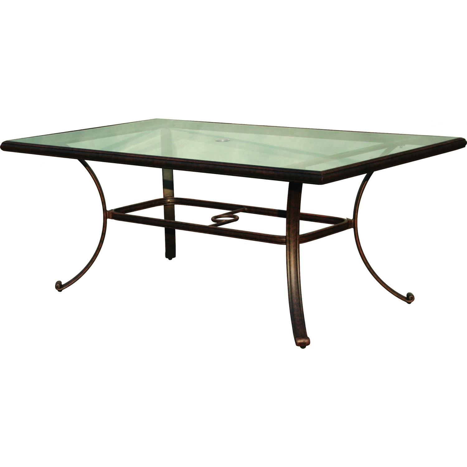 outdoor dining table glass top photo - 3
