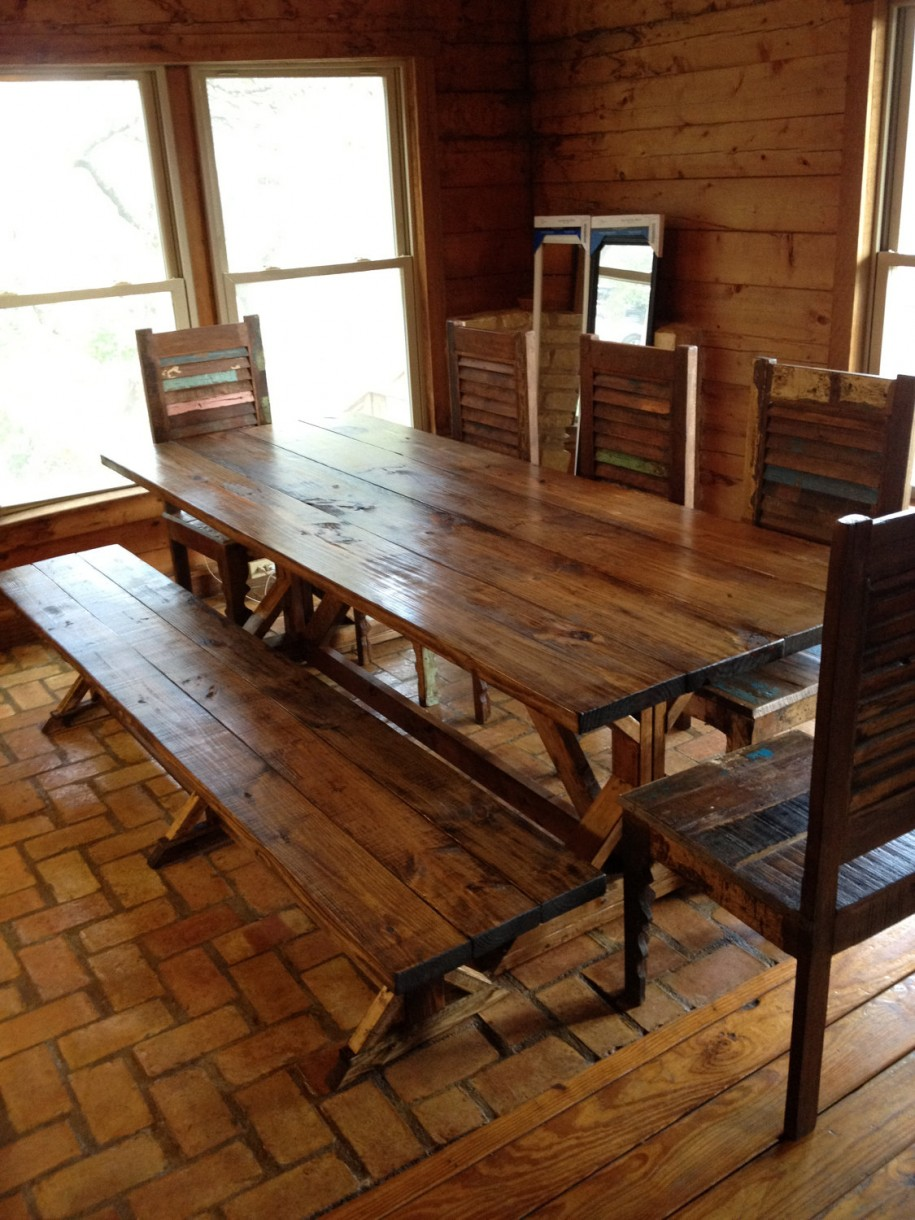 rustic dining room table bench photo - 1