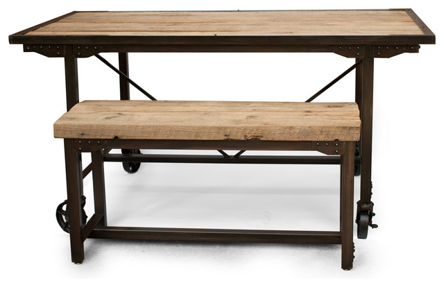 rustic dining room table bench photo - 5