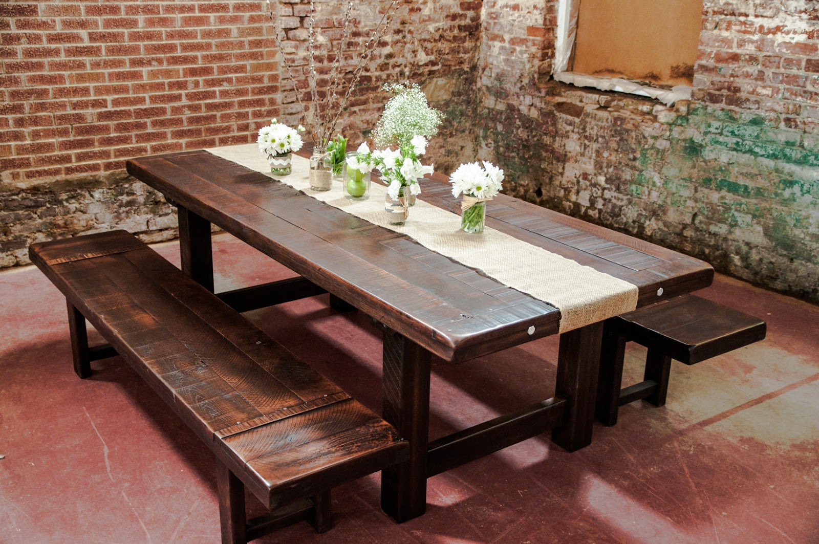 rustic dining room table bench photo - 6