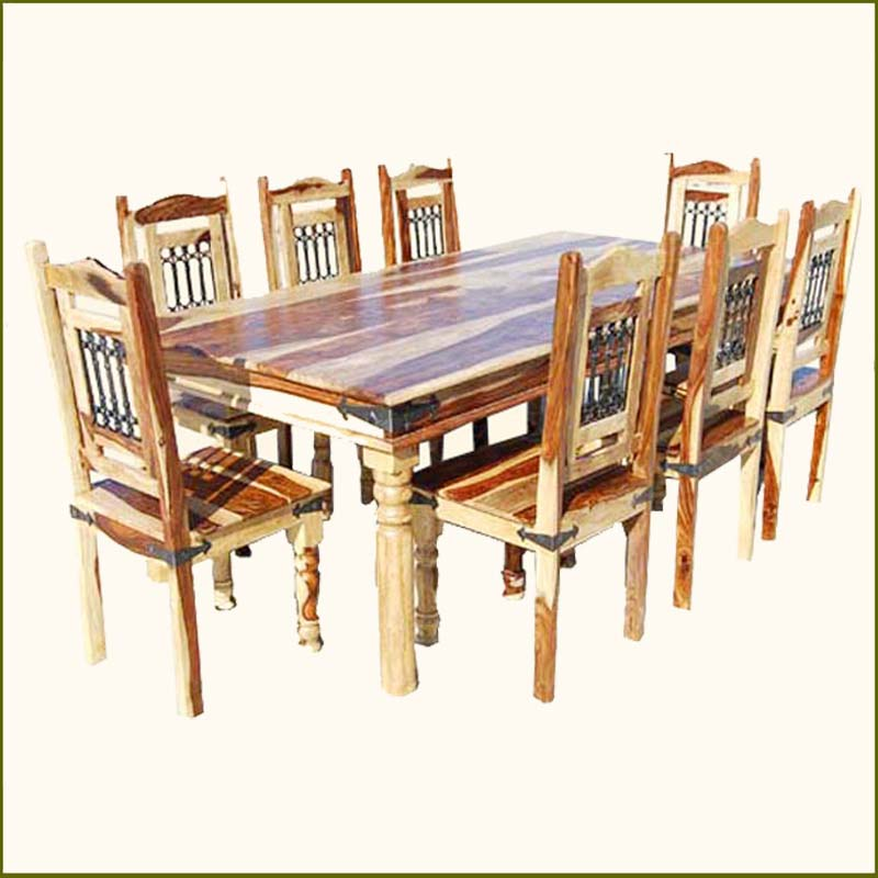 rustic dining room table bench photo - 7